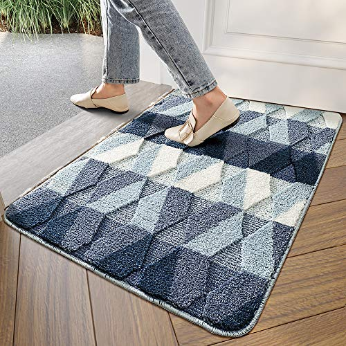 DEXI Indoor Doormat Front Door Rug, 20'x32' Absorbent Machine Washable Inside Door Mat, Non Slip Low-Profile Entrance Rug for Entry, Back Door, Blue