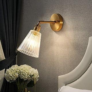 Yadianna Modern Luxury Golden Glass Wall Lamp 180° Rotating Lamp Holder Living Room Bedroom Bedside Corridor Aisle Stairca...