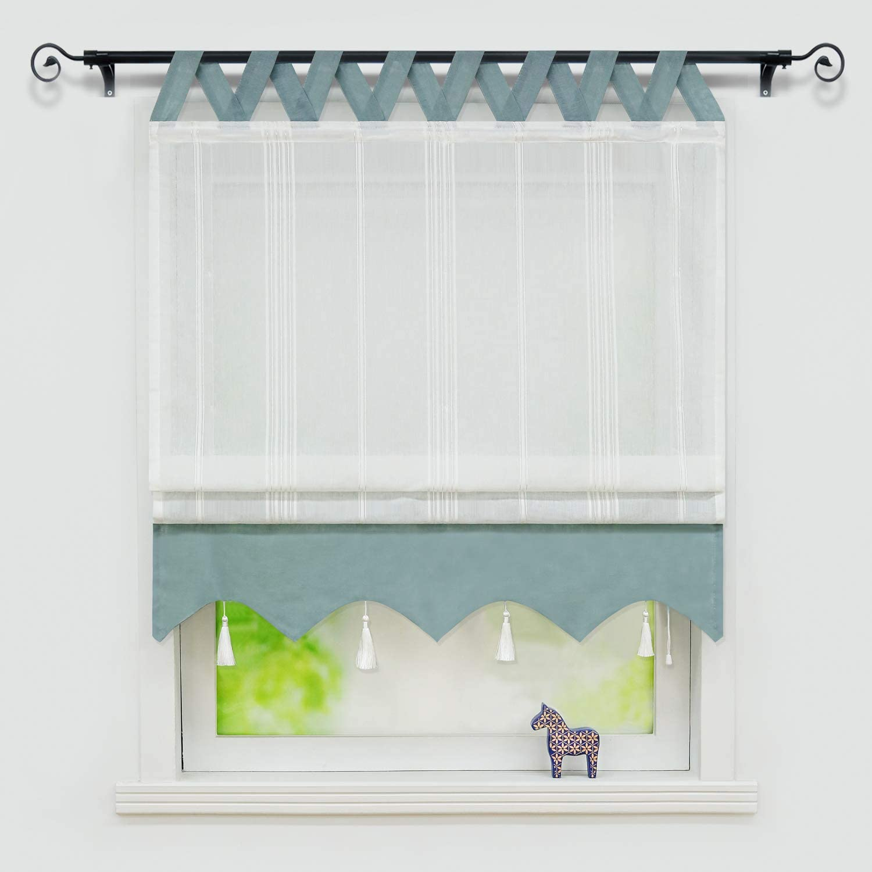 Yujiao Mao Sheer Roman Curtains for Wave Max 55% OFF Bottom Window Tassel Ki Special price