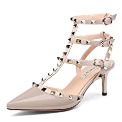 457d3c9e2 Chris-T Women s Pointy Toe Buckle Sandals Studded Slingback K ..