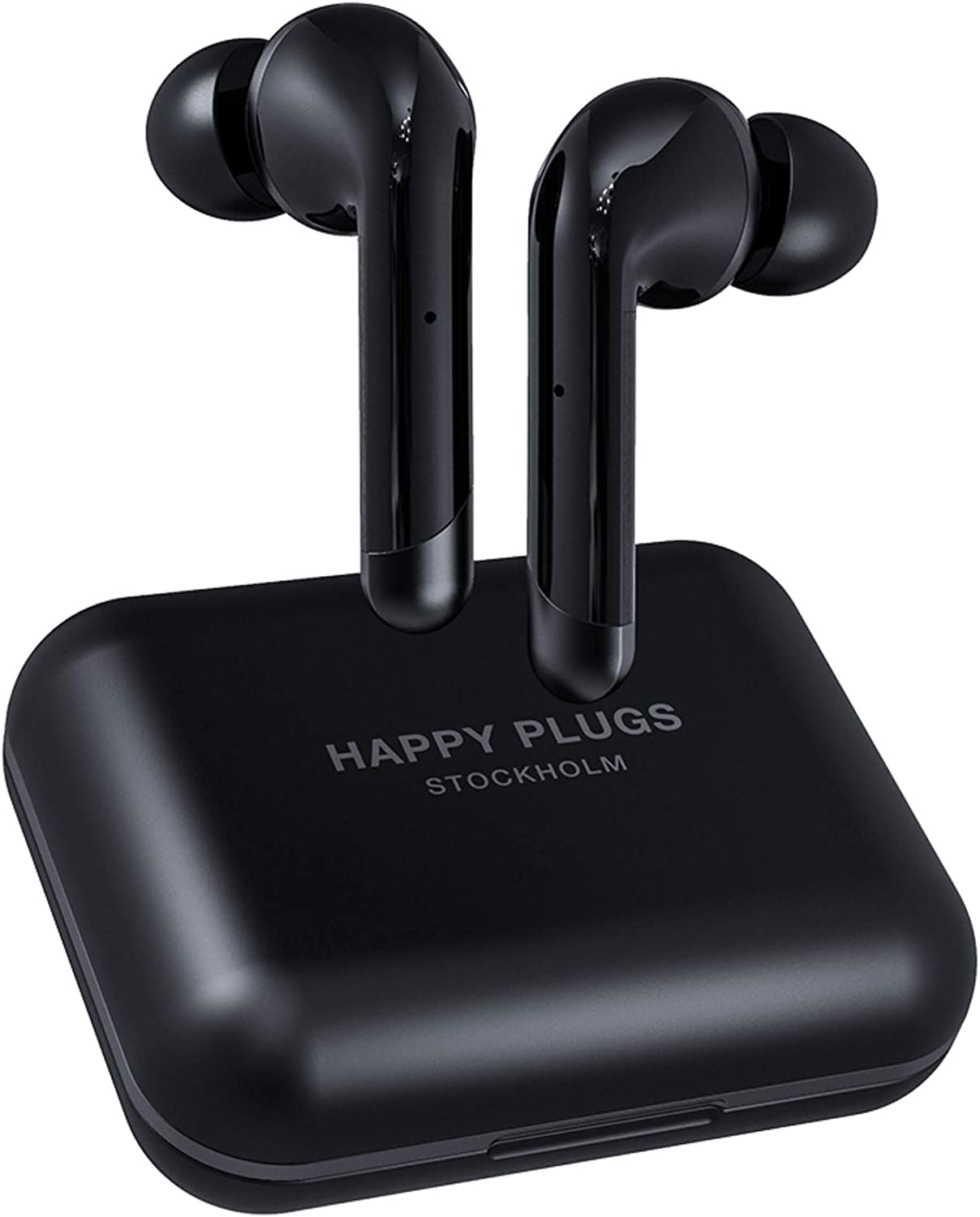 Happy Plugs Air 1 Plus High-end in-Ear True Wireless Bluetooth Earbuds/Headphones with Charging Case and Microphone | Up to 40 Hours Playtime | Suitable for iOS/Android, Black