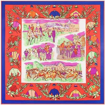 YDMZMS 100% Soie sergé Marque écharpe en Soie pour Les Femmes, Nouvelle Mode Grand carré Foulards Bandeau Royal Ascot Olive Branche Impression châle Hijab 2