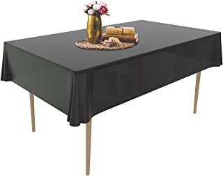 Puricon 6 Pack Disposable Plastic Tablecloths 54 x 108 Inch Premium Rectangle Table Cover -Black
