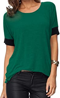 Women's Casual Round Neck Loose Fit Short Sleeve T-Shirt Blouse Tops