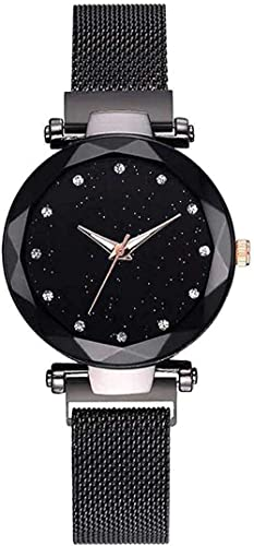 TIMESOON Black Round Diamond Dial with Latest Generation Magnet Belt Analogue Watch for Women Pack of - 1