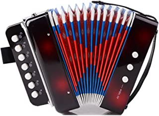 Elloapic Children's Kids' Accordion Keyboard Instruments with 7 Treble Keys, 3 Air Valves, Hand Strap, Early Learning Eduction Instrument Music Toy Black