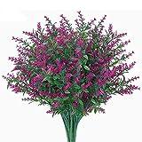 Msrlassn 6 Piezas Flores Lavanda Artificiales,Flores de plástico Artificiales,no se decolora,para Interior Exteriores decoración Arbusto de jardín Porche Ventana decoración Planta (Fucsia)