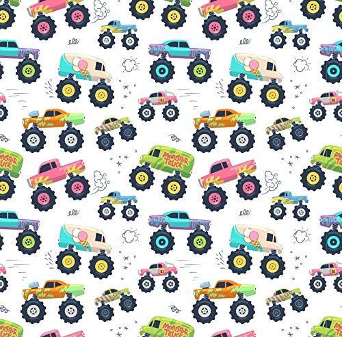 Monster Truck Party Birthday Gift Wrap Paper Folded Flat 30 x 20 Inch, 3 Sheets