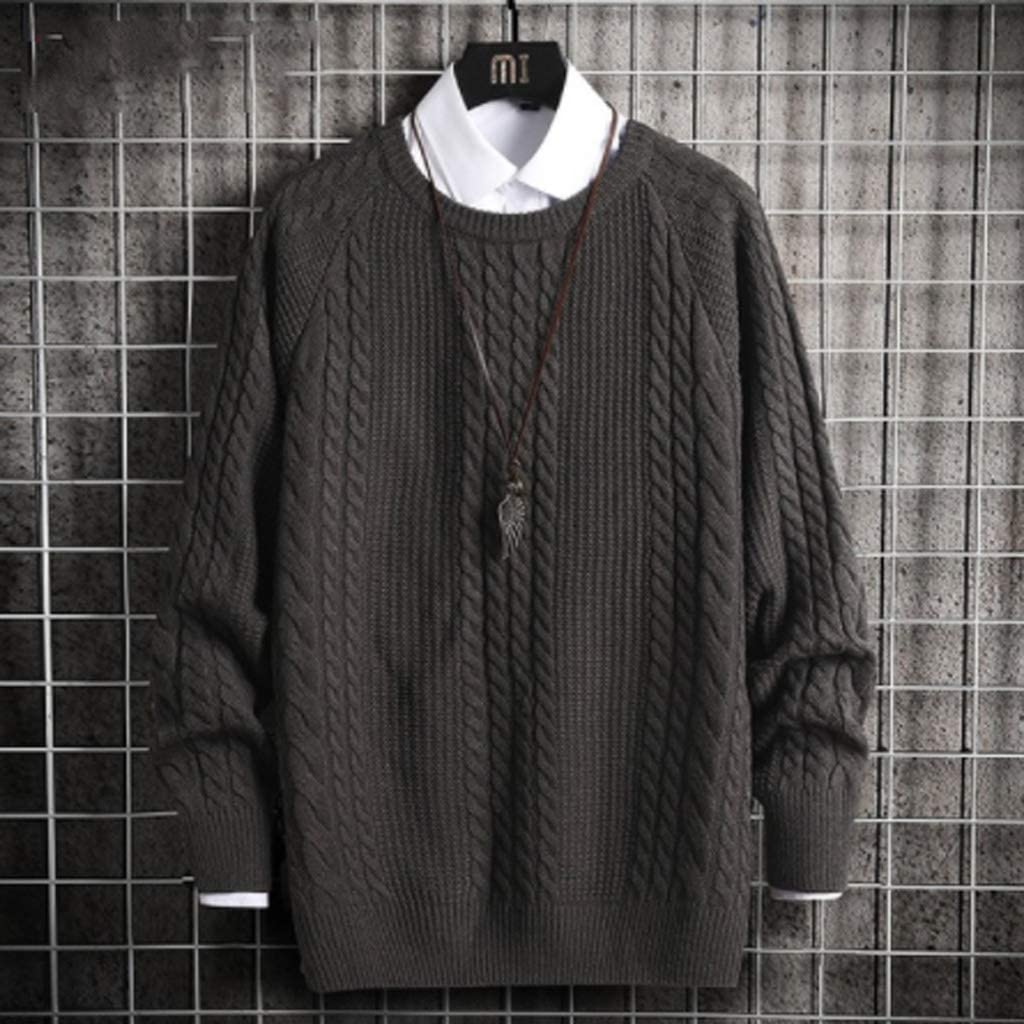 ZYING Solid Pullover Mens Sweater Knitted Top Pullover Men Clothing Mens Sweaters 2020 Autumn Winter (Color : Style 2)