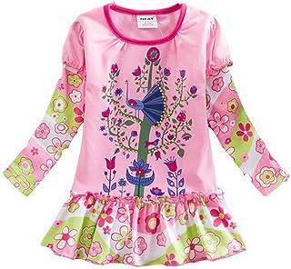 JUXINSU فستان قطني طويل الأكمام للفتيات كرتون زهري زهري فساتين الشتاء 2-6 سنوات طاووس L358
