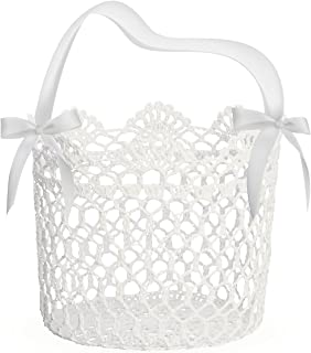 Unomor Flower Girl Basket for Wedding Decoration, Handle with Silk Ribbon and Box Package,5x5x5Inch(White)