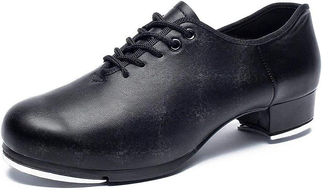Joocare Men's Oxford Lace up Jazz Tap Dance Shoes (8.5, Black)