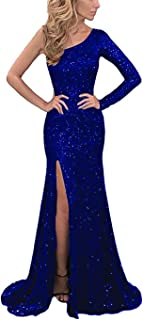 Women's One Shoulder Sequins Evening Dress Long Prom Formal Gowns