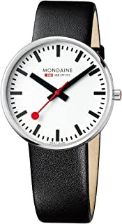 Mondaine Men's SBB Stainless Steel Swiss-Quartz Watch with Leather Strap, Black (Model: MSX.4211B.LB)