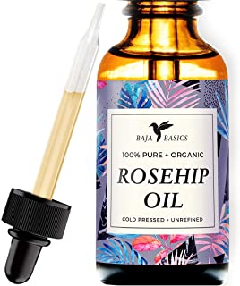 Rosehip Seed Oil by Baja Basics 100% Pure, Cold Pressed, All Natural, Toxin Free, Anti Aging, Ultra Hydrating, Balancing Moisturizer for Dry or Mature Skin, Face, Body, Hair & Nails 1oz