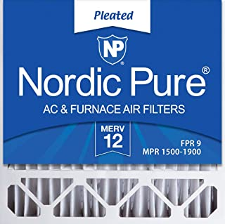 Nordic Pure 20x20x4/20x20x5 (19 5/8 x 19 7/8 x 4 3/8) Honeywell FC100A1011 Replacement Pleated AC Furnace Air Filters MERV 12, Box of 2