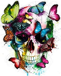 ABEUTY DIY Paint by Numbers for Adults Beginner - Butterflies Human Skull 16x20 inches Number Painting Anti Stress Toys (Wooden Framed)