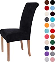 Colorxy Velvet Spandex Fabric Stretch Dining Room Chair Slipcovers Home Decor Set of 4, Black