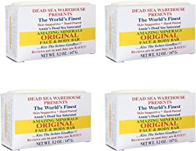 Dead Sea Warehouse - Amazing Minerals Original Face and Body Bar, Soothing Dead Sea Minerals Support Clear and Healthy Skin, Great for All Skin, Sensitive Skin Friendly (Unscented, 5.2 Ounces, 4-Pack)