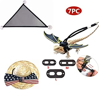KHLZ US Bearded Dragon, Lizard, The Perfect 7pcs Set - 3 Pack Lizard Reptile Harness with Wings, Hammock Lounger, Rattan Hat with American Flag
