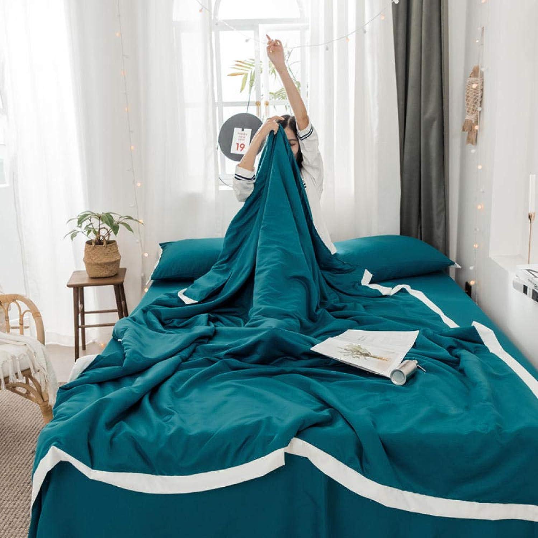 CXWNC Légère et Moelleuse Confortable, Respirante,Washable Air Conditioner QuiltsTissu de Coton de Soie d'été Simple Double Couette d'été Cool, 200X230cm_ Vert