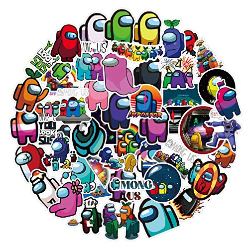 52Pcs Among Waterproof Vinyl Stickers for Kids Girls Teens, Game Among Stickers Decals for Laptop Water Bottle Bike Skateboard Luggage Computer Hydro Flask Toy Snowboard
