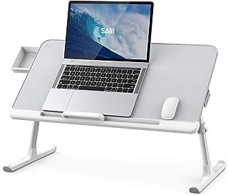 SAIJI Laptop Bed Tray Desk, Adjustable PVC Leather Desktop Lap Desk, Portable Laptop Table Stand with Storage Drawer, Fold...