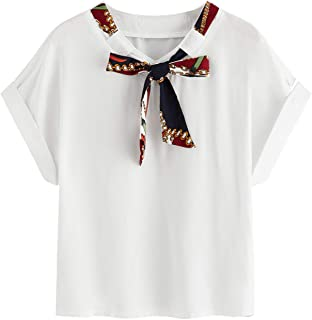 Women Scarf Print Tie Neck Short Sleeve Casual Blouse Top