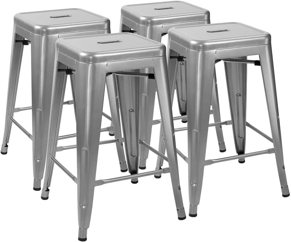 Amazon Com Furmax 24 Inches Metal Bar Stools High Backless Indoor Outdoor Counter Height Stackable Stools Set Of 4 Silver Home Kitchen