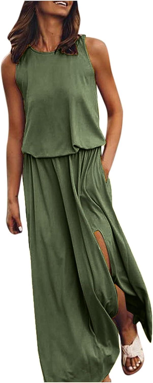 Women's Casual Summer Dress 2021 O Neck Short Sleeve Casual Sundress with Pockets Long Maxi Dresses 203