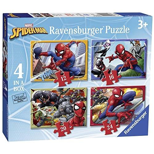 Ravensburger Puzzle, Spiderman, 4 Puzzle in a Box, 12-16-20-24 Pezzi, Puzzle per Bambini, Puzzle Spiderman, Età Consigliata 3+ Anni