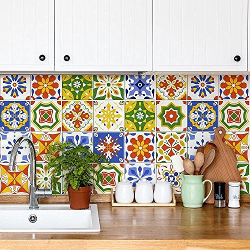 15 piezas Azulejo adhesivo 20x20 cm - PS00194 - Mosaico de Azulejos Adhesivo de pared Adhesivo decorativo para azulejos de cemento para baño y cocina Adhesivos de cemento pelar y pegar