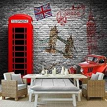 Wallpaper 3D Wall beautification Photo Wallpaper Europe Retro Nostalgia London Telephone Booth Cafe Restaurant Mural Living Room Bedroom Hotel Custom Wallpaper Poster-200X140CM