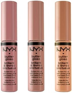 NYX Cosmetics Butter Lip Gloss, Creme Brulee, Tiramisu & Fortune Cookie - Nude Collection 1