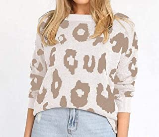 Women's Casual Loose Long Sleeve Leopard Print Crewneck Knit Pullover Sweaters