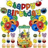 WENTS Caricatura Sesame Streets Cake Topper,Plaza Sésamo globo Banderines para fiesta,Baby Shower Fiesta de cumpleaños Pastel Decoración Suministros