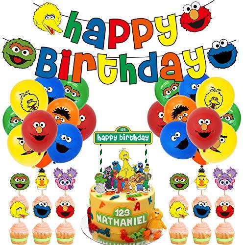 WENTS Sesame Streets Cake Topper,Sesame-Streets Patrol Palloncini Party Supplies, Bambini e Baby Shower Forniture per la Decorazione della Torta della Festa di Compleanno