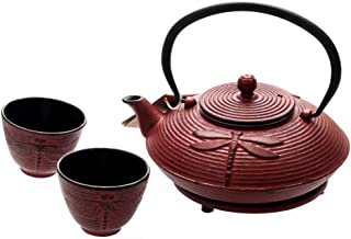 M.V. Trading T8140 Cast Iron Dragonfly Tea Set with Trivet, 27 Ounce, Red