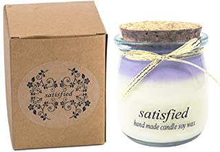 Natural Soy Wax Scented Candle, Pudding Bottle Jar Candle, Relaxing Scent & Long Lasting, Lavender candle Purple
