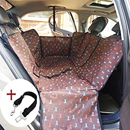 Anfayejia Waterproof Dog Seat Cover Washable Pet Hammock Protection Mat for Cars SUV and Truck Coffee