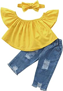 Kid Toddler Girl 3pcs Summer Outfits Ruffles T-Shirt Top+Blue Denim Stretch Jeans Destroy Ripped Pants+Headband