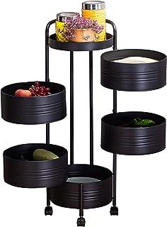 Hanme Étagère De Rangement De Cuisine Rotative Multicouche, Chariot À roulettes pour Support De Rangement Rond, Support De...