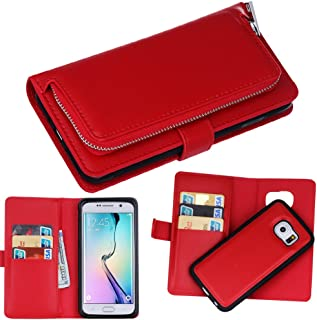 DRUnKQUEEn S6 Case, Galaxy S6 Case, Premium Slim Wallet Zipper Clutch Leather Credit Card Holder Feature Purse Flip Type Removable Case - Detachable Magnetic Back Cover for Samsung Galaxy S 6