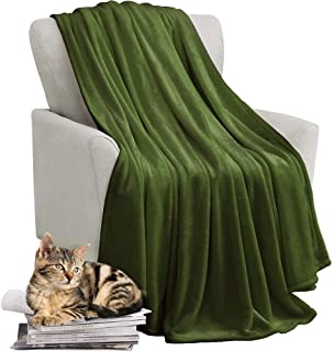 KAWAHOME Fleece Blanket Lightweight Fuzzy Microfiber Throw Blankets All Season for Bed Couch Sofa Queen Size 90 X 90 Inches Olive Green