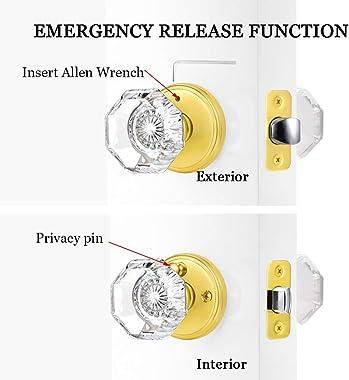 CLCTK Privacy Crystal Glass Door Knobs Interior with Lock, Modern Octagon Door Knobs for Bedroom/Bathroom, Gold/Polished Bras