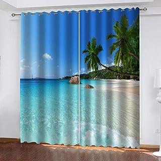 Cortinas de impresión de Sombra Solar, Cortinas de Fibra de poliéster 3D de Coco Marino, decoración Interior Fresca, Cortinas Opacas Altas (59