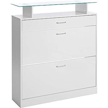 ts-ideen Scarpiera Salvaspazio 104 x 60 cm in Bianco ed effetto rovere stile moderno con due scomparti ad anta basculante mensola superiore in vetro e con cassetto