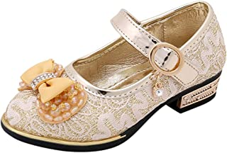 21e59a292061 Little Girls Mary Janes Dress Shoes Kids Round Toe Bow Bridal Crytal Party  Dance Princess Pumps