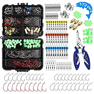 NEWQIANG 172pcs/box Fishing Accessories Kit with Tackle Box, Including Fishing Pliers, Fishing Jig Hooks, Fishing Sinker Slides, Bullet Bass Casting Sinker Weights,Fishing Swivels Snaps,Fishing Line