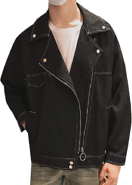 2302741d037 ROHEP Men's Men's Men's Cowboy Washed Vogue Fitness Zipper Classic Trucker  Jacket 2ad4db